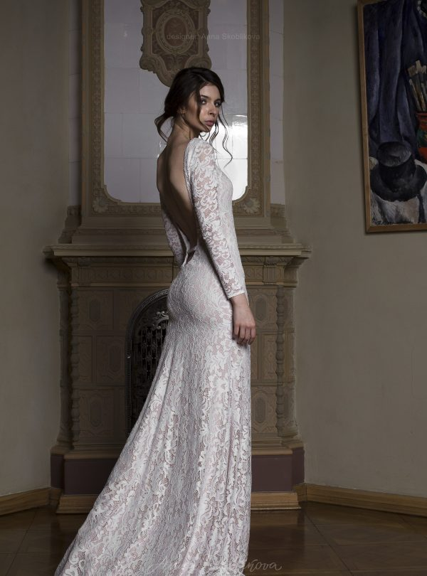 Backless wedding dress – Albertа – stunning gown features sexual low back line below the waist and marvelous lace fabric