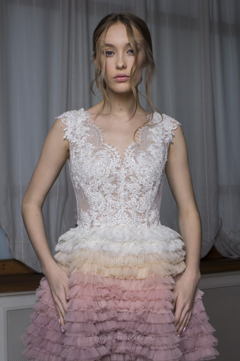Valentina - Stunning wedding dress features the ombre hand-maid skirt beautifully embellished with Spain lace \\ Anna Skoblikova