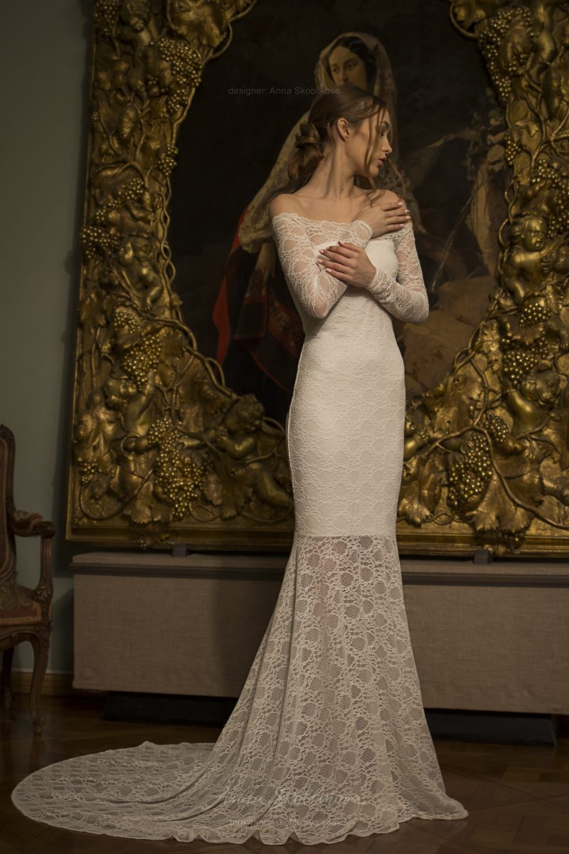 Olivia - Modest, charming, scattered lace wedding gown emphasizes the elegancy of shoulders and neck \\ Anna Skoblikova