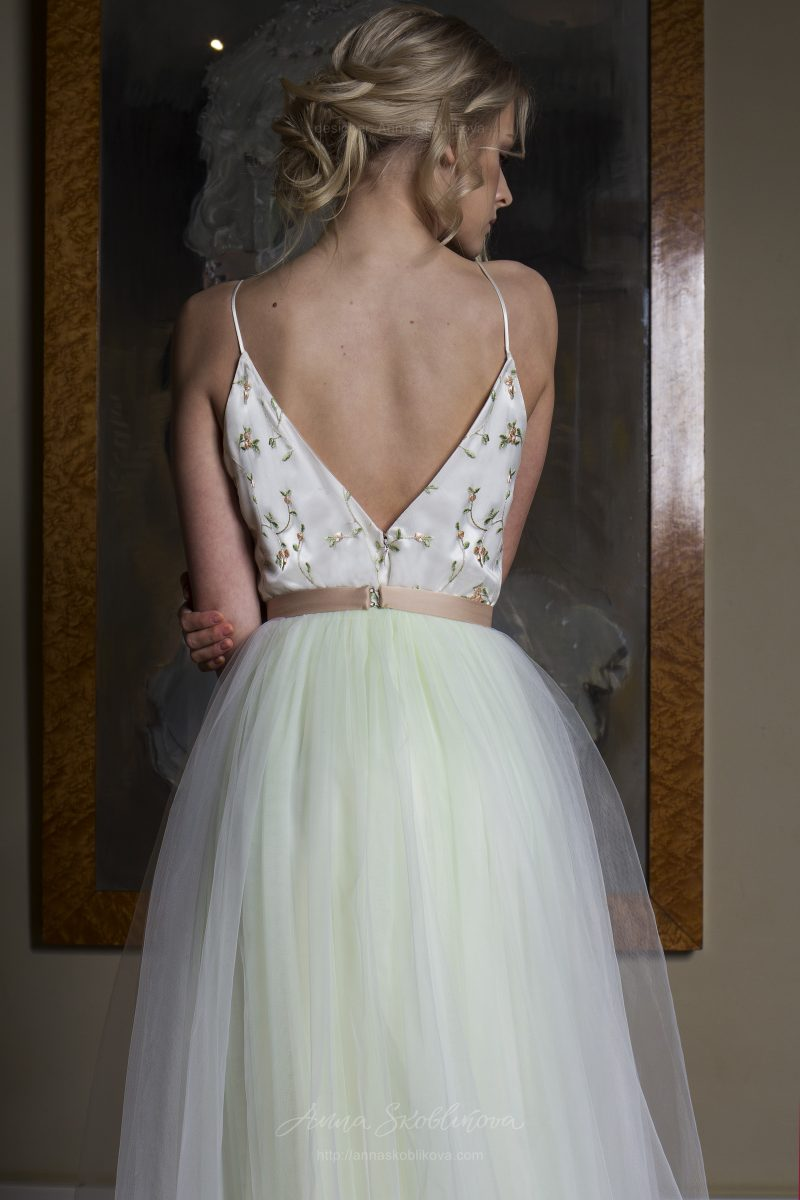 Photo 3: Unique designer wedding dress with a full skirt