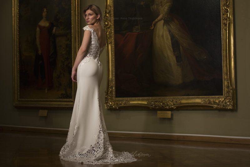 Фото 1: Свадебное платье с отделкой из кружева-макраме  Anna Skoblikova