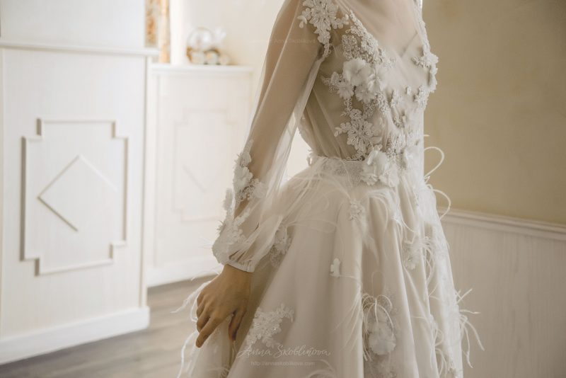 Long sleeve wedding dress - Enigma with Hand Embroidery
