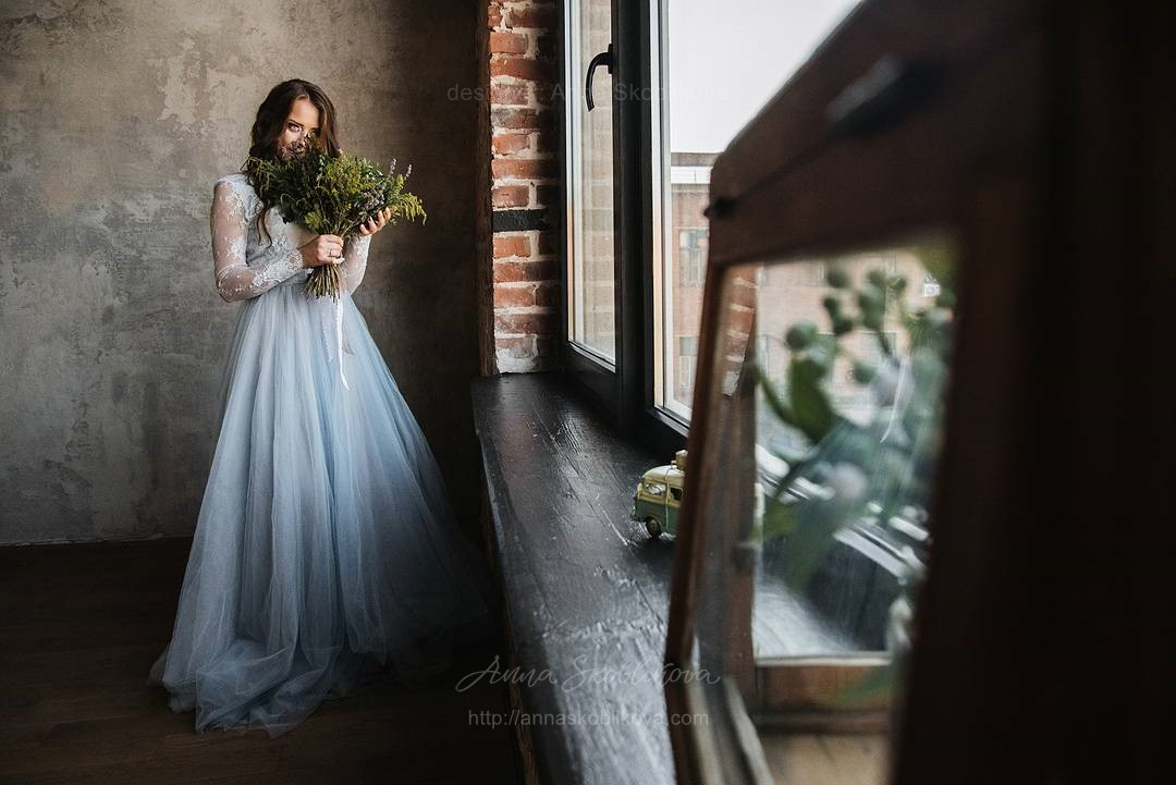 Blue Plus Size Wedding Dress - Anna Skoblikova