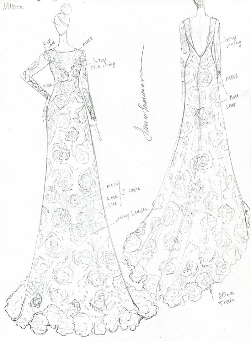 Фото 2: Свадебное платье с фактурой из роз созданной вручную - MEDEA