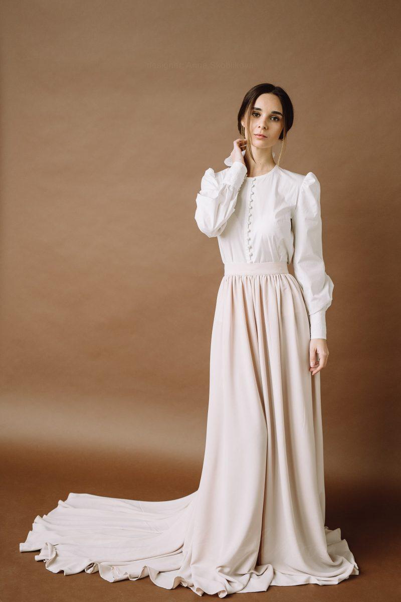 Two piece retro wedding dress in non traditional wedding style by Anna Skoblikova