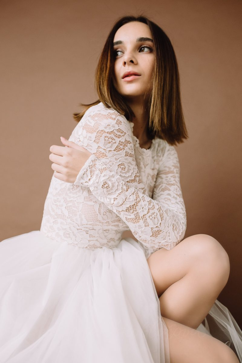 Long sleeve lace bodysuit \ Anna Skoblikova \ Wedding Dress